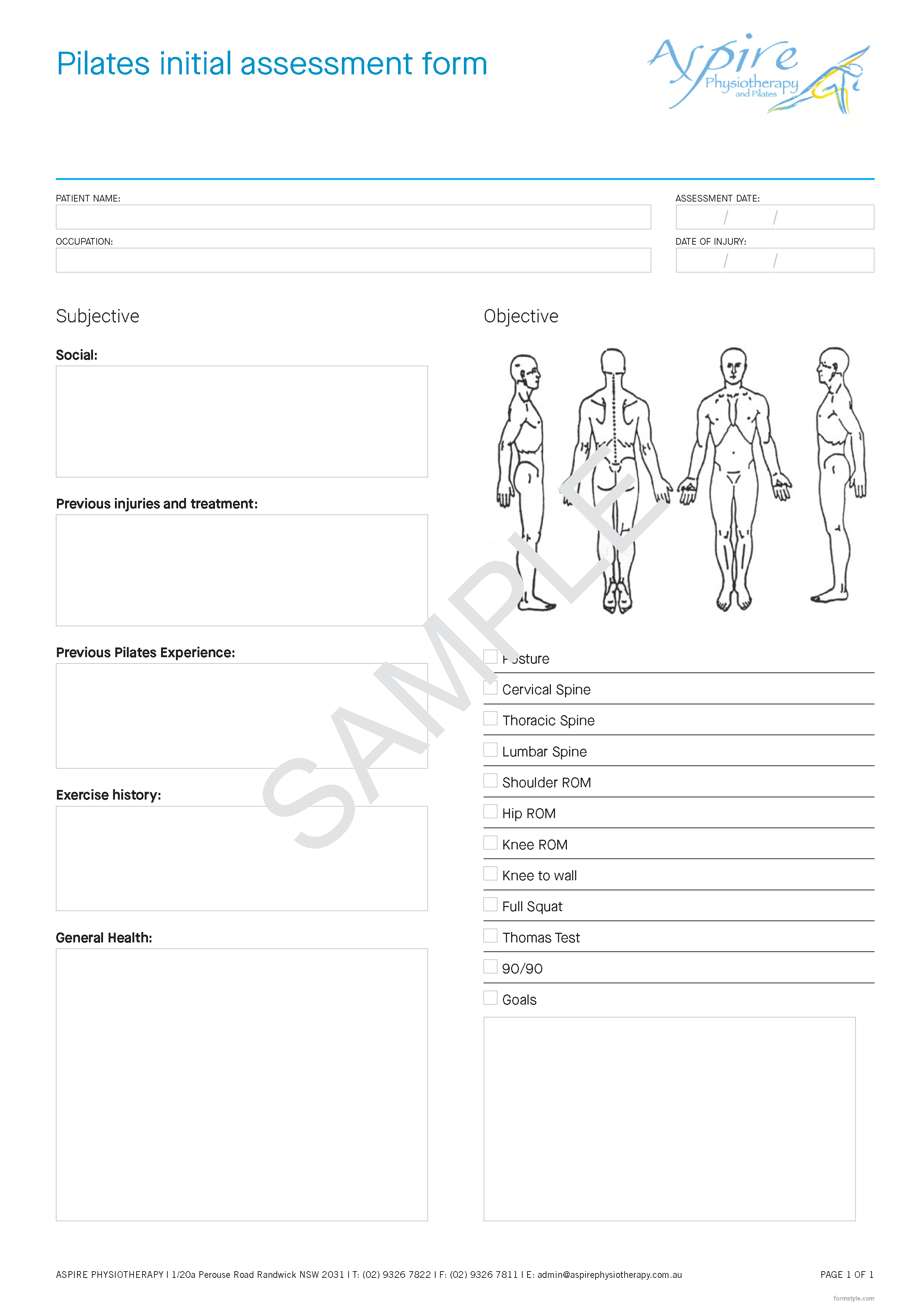Example of printed form design